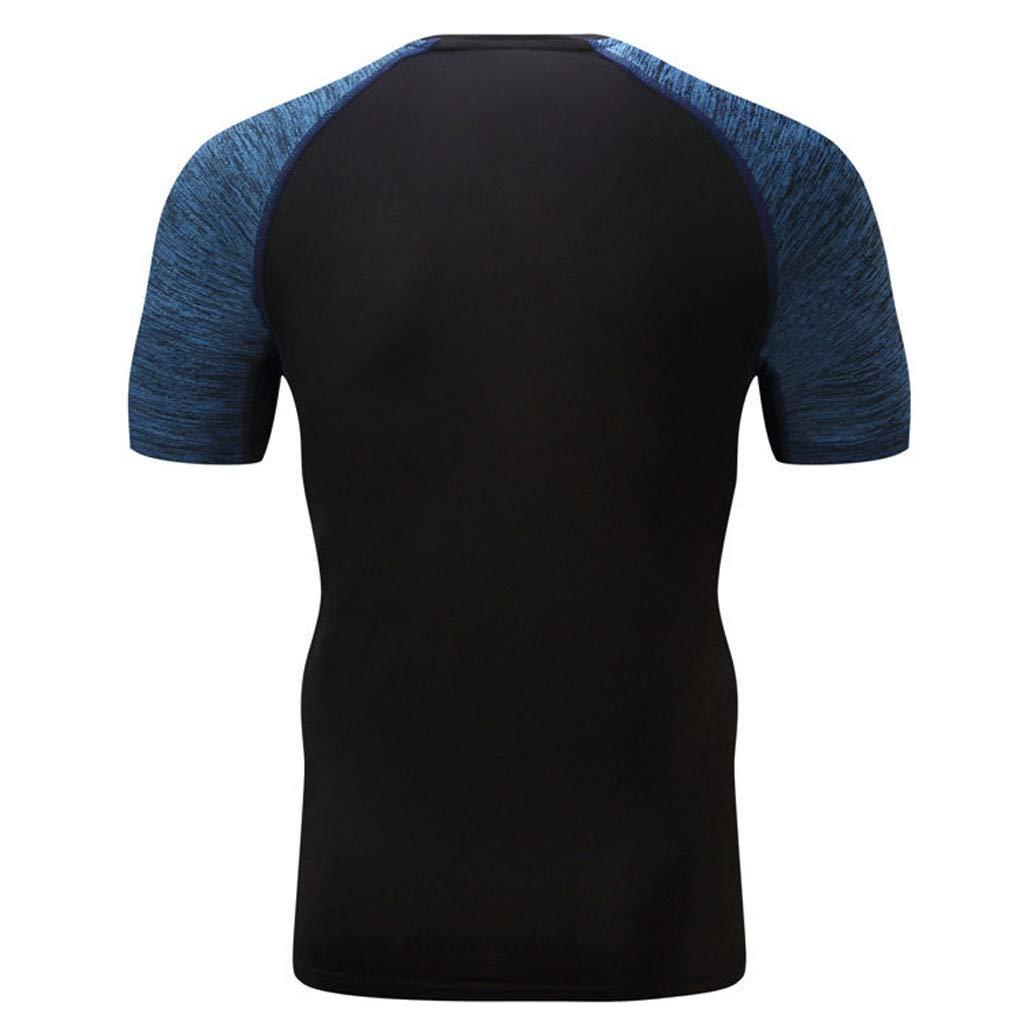 Xiloccer Mens Fitness Short Sleeves T-Shirt Bodybuilding Skin Tight-Drying Tops