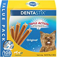 PEDIGREE DENTASTIX Toy/Small Dog Dental Treats Original Flavor Dental Bones, 1.68 lb Value Pack (108 Treats)