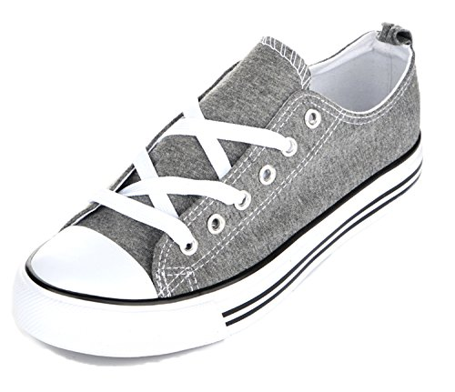 Shop Pretty Girl Damen Sneakers Casual Leinwand Schuhe Solid Farben Low Top Lace Up Flache Mode Grau