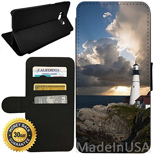Flip Wallet Case for Galaxy S8 (Beautiful Lighthouse) with Adjustable Stand and 3 Card Holders | Shock Protection | Lightweight | by Innosub
