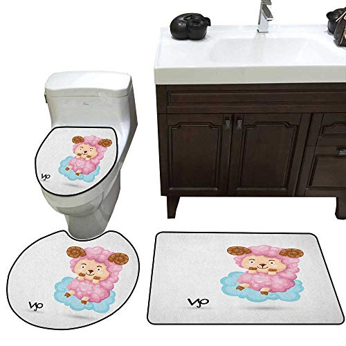 - Zodiac Aries 3 Piece Toilet mat Set Cartoon Style Funny Sheep Sitting on a Blue Cloud Birth and Future Kids Design Bathroom and Toilet mat Set Multicolor