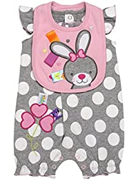Baby Girl So Hoppy Bunny Shorts Romper and Bib (3m-12m)