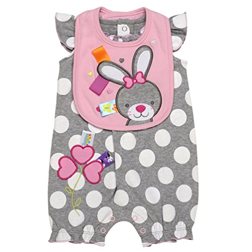 Taggies Baby Girl So Hoppy Bunny Shorts Romper and Bib (3m-12m) (6 months)