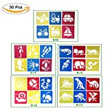 Kids Painting Stencil Templates,Plastic Animal Drawing Spraying Templates Drawing Stencil Washable Template for Children Craft School Projects, Set of 30