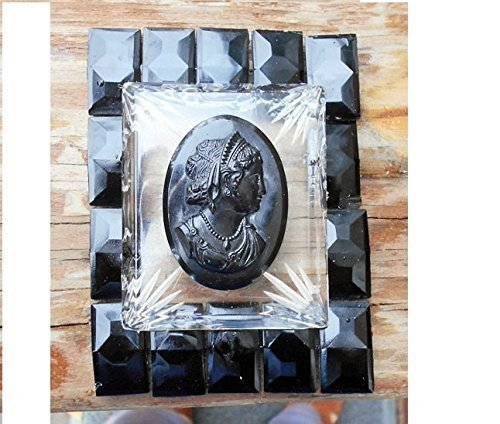 Framed Glass Pendant (NOT for the FAINT of HEART! Black Mourning Cameo Celluloid on 4