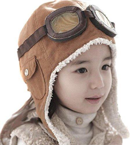Childrens Pilot Aviator Fleece Warm Hat Cap with Earmuffs Goggles Brown