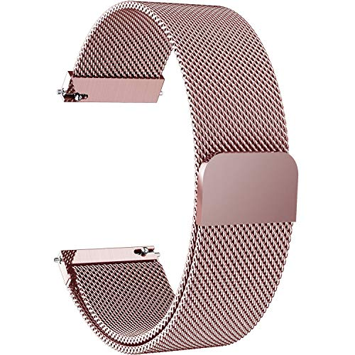7 Colors for Quick Release Watch Strap, Fullmosa Milanese Magnetic Closure Stainless Steel Watch Band Replacement Strap for 20mm Rose Pink