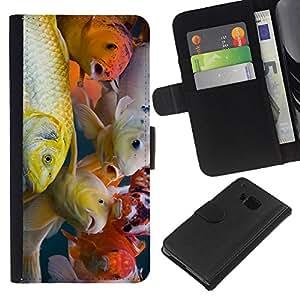HTC One M7 - Dibujo PU billetera de cuero Funda Case Caso de la piel de la bolsa protectora Para (Colorful Koi Fish)