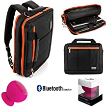 Microsoft Surface Pro 4 / Pro 5 / Pro 3 / Book 2 Lightweight Nylon Messenger Bag Convertible To Backpack 3 in 1 + Pink Bluetooth Suction Speaker