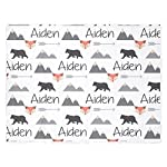 Personalize-Baby-Blanket-Baby-Name-Blanket-Black-Bear-Blanket-Fox-Blanket-Tribal-Blanket-Baby-boy-Blanket-Mountain-Blanket