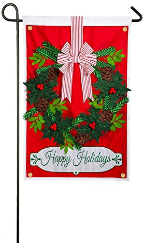 Evergreen Holiday Wreath Applique Garden Flag, 12.5 x 18 inches