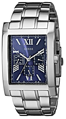 GUESS Men's U0484G2 Retro Silver-Tone Multi-Function Watch with Blue Dial