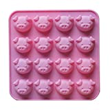 Rainie Love 16 Holes Piggy Shape Silicone Mold Baking Mould For Chocolate/Cake/ Mousse/Bread/Prepared Food/Jelly/Ice Cube