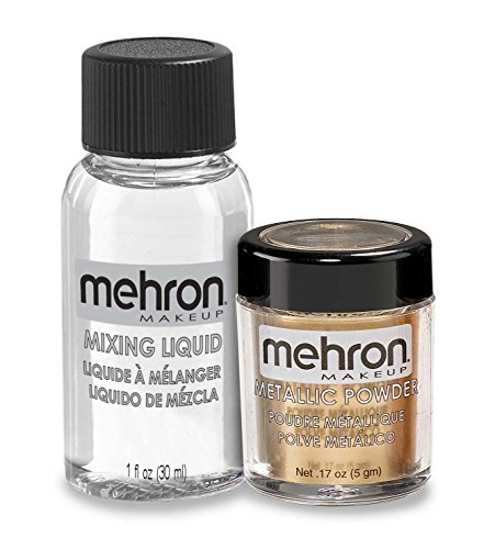 Mehron Makeup Metallic Powder (.17 oz) with Mixing Liquid (1 oz) (GOLD)