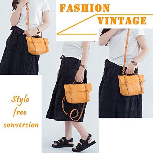 Sacs Bandoulière Style Véritable Vintage Main Sacs Messenger Brown Doux Bandoulière Sac à Cuir Sac à Femmes YANJJ FfCnqRwx4A