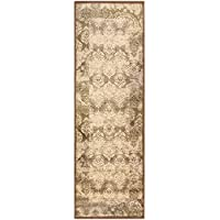 Superior Modern Mystique Collection Area Rug, 8mm Pile Height with Jute Backing, Elegant Multi-colored Damask Pattern, Anti-Static, Water-Repellent Rugs - Brown, 27 x 8 Runner Rug