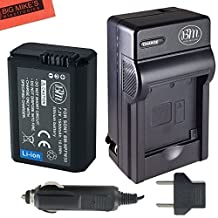 BM Premium NP-FW50 Battery and Charger Kit For Sony DSC-RX10/B, DSC-RX10 II, DSC-RX10 III, Alpha A6300, Alpha 7, A7R, A7R II, A7S, A7S II, A7II, A3000, A5000, A5100, A6000, NEXF3K, NEX5, NEX5K, NEX5N, NEX5T, NEX5TL, NEX6, NEX7, SLT-A33, SLT-A35, SLT-A37, SLT-A55, ILCE-QX1 Digital SLR Camera
