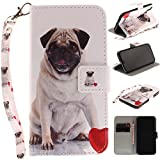Misteem Case for iPhone X / XS Animal, Cartoon Anime Comic Leather Case Wallet with Bookstyle Magnetic Closure Card Slot Holder Flip Cover Shockproof Slim Creative Pattern Shell Protective Cover for iPhone XS / X [Dog Pug]