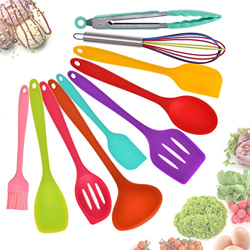 Aybloom Silicone Kitchen Utensils Set – 10 Pieces Multicolor Silicone Heat Resistant Non-Stick Kitchen Cooking Tools