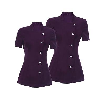 D DOLITY 2 Piezas Camisas de Esteticista Hermosura Salón Spa Belleza Peluquerias Uñas Uniformes Negros Morados M L - Púrpura, Única: Amazon.es: Ropa y ...