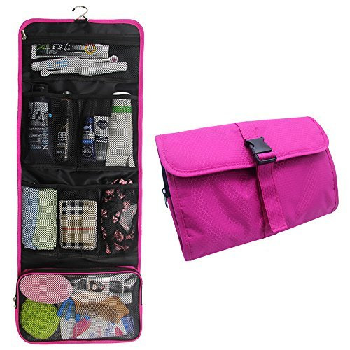 Price comparison product image Travel Hanging Toiletry Bag Travel Kit Organizer Cosmetic Makeup Waterproof Wash Bag for Women Girls Travel Case for Bathroom Shower (Hot Pink)