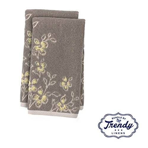 Spring Garden Gray Floral Hand Towels - Bathroom Shower Coll