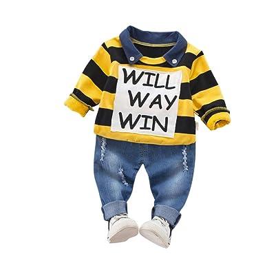 BHYDRY NiñIto Niños Bebé Chico Carta Raya Tapas De La Camisa T + Demin Pantalones Conjuntos De Ropa Trajes: Amazon.es: Ropa y accesorios