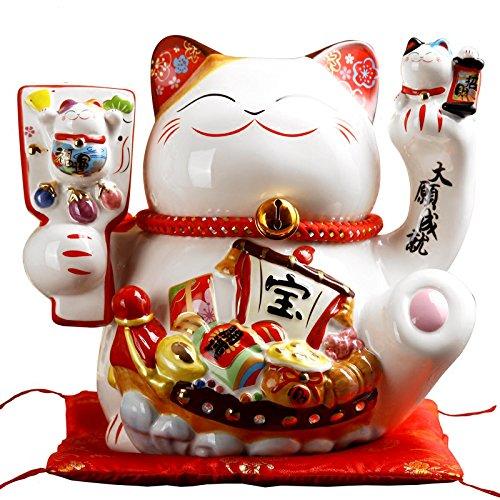 開運招き猫 商売繁盛风生水起大願成就千客万来 開店祝い 開業プレゼント 貯金箱 招き猫置物 (高さ25×長さ25×幅21cm) 10センチ B07DJ6TCK4 大願成就 大願成就