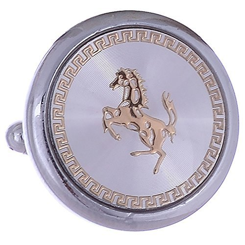 The Jewelbox Men's Royal Chariot Gold Plated Horse Round Cufflink