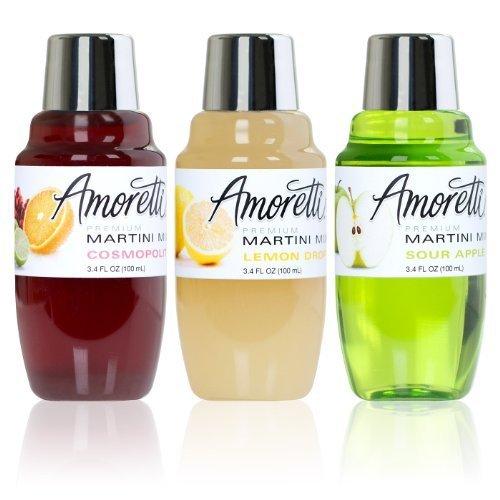 Amoretti Premium Martini Cocktail Mix Classic Minis, 3.4 fl oz, 3-Count (Cosmopolitan, Lemon Drop and Sour Apple) by Amoretti by Amoretti