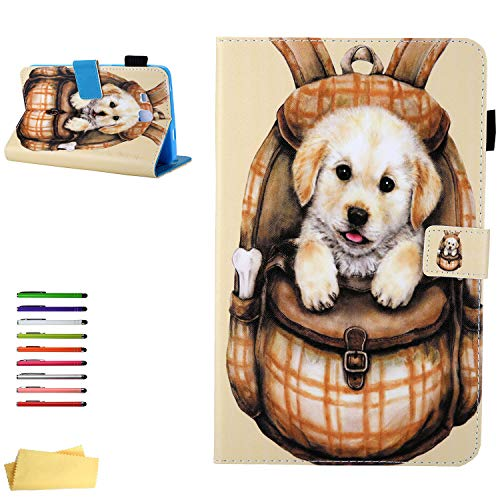 UUcovers Galaxy Tab A 7.0 Tablet 2016 Case (SM-T280/T285), PU Leather Stand Folio Cover Soft TPU Shockproof Shell with Card Slots Pencil Holder Magnetic Wallet for Samsung Tab A 7.0 inch, Orange Dog]()