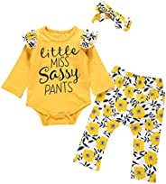 i-Auto Time Newborn Baby Girl Clothes Long Sleeve Ruffle Romper Bodysuit+Floral Pants Outfits Set