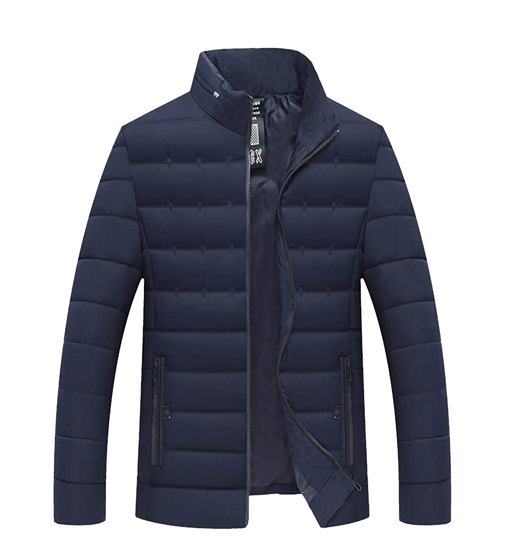 Etecredpow Mens Thick Jacket Warm Zip Front Stand Collar Outerwear Cotton-Padded Parkas Coat