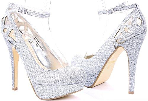 Womens Ericka Cut Out Ankle Strap High Stiletto Heel Platform Dress Pumps Silver Wu6sDFoc