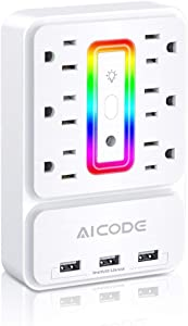6-Outlet Extender,Multi Plug Outlet Surge Protector,  USB Wall Charger with 3 USB Charging Ports (3.2A Total) and 6 LED Light-Color, for Home, Office, Dorm Essentials, Hotel, White