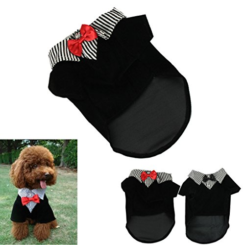 HP95(TM) Fashion Small Pet Dog Clothes Western Style Men's Suit Bow Tie Puppy Costume (S, Red)