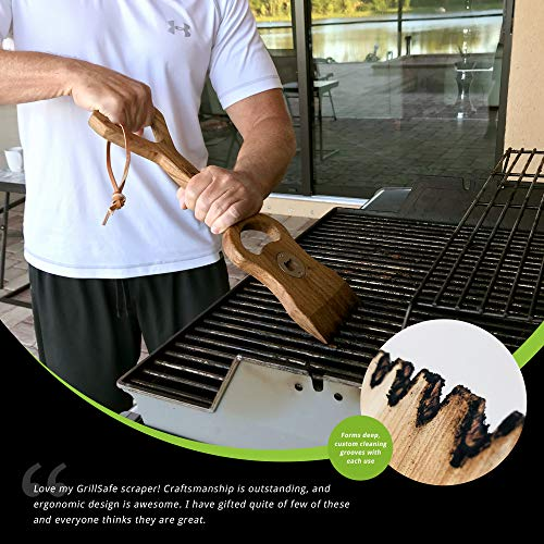"GrillSafe Dual Handle Premium Wood Grill Scraper. 18"" Bristle-Free, Safe & Eco-Friendly Natural Wood BBQ Cleaning Brush with Bottle Opener. Custom Forms to Grill for Cleaning Top & Sides of Grates."