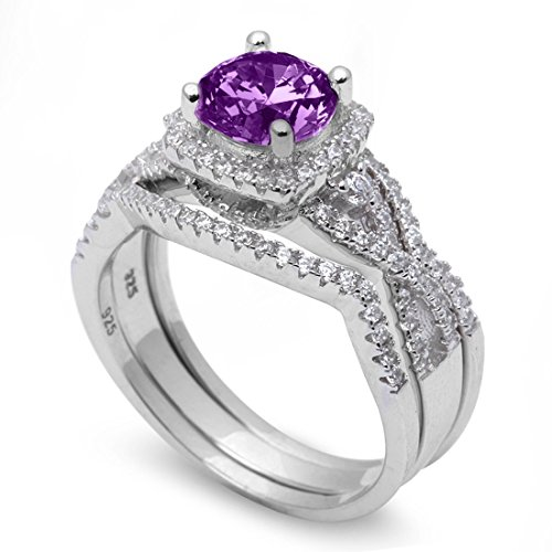 Halo Three Piece Trio Set Wedding Ring Infinity Round Simulated Purple Amethyst CZ 925 Sterling Silver Size 8
