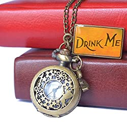 Vintage Drink Me Pocket Watch, Hmxpls Quartz Watch With Rabbit Hollow Carving Flowers Women Watches Necklace with Chain Christmas Valentine Gifts, Alice in Wonderland(Bronze)