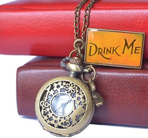 Vintage Drink Me Pocket Watch, Hmxpls Quartz Watch With Cute Rabbit Hollow Carving Flowers Gifts, Bronze