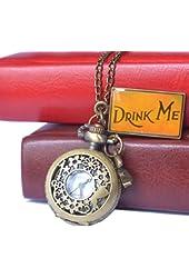 Hmxpls Vintage Drink Me Pocket Watch Quartz Watch Alice in Wonderland Rabbit