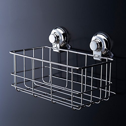 Stainless Steel Bedroom Living Room Square Tag Through Magazine Rack Storage Basket Vacuum Suction Cup Organizer Storage Shelf