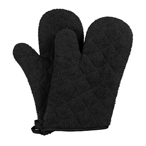 VEEYOO 100% Cotton Oven Mitts Heat Resistant Kitchen Oven Gloves Machine Washable Terry Oven Mitts (7.5x12, Black) ()