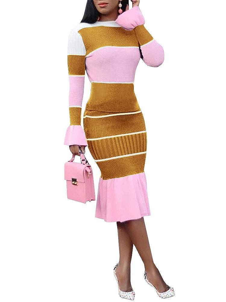 Yellow Chellysun Women Long Sleeve Bodycon Sweater Dresses 2 Piece color Block Ruffle Knit Midi Dress