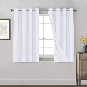 Primitive Textured Linen 100% Blackout Curtains for Bedroom/Living Room Energy Saving Window Treatment Curtain Drapes, Burlap Fabric with White Thermal Insulated Liner (52 x 54 Inch, White)