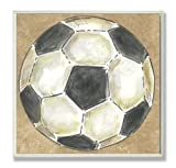 The Kids Room by Stupell Soccer Ball on Brown Background Square Wall Plaque