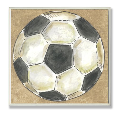 The Kids Room by Stupell Soccer Ball on Brown Background Square Wall Plaque by The Kids Room by Stupell
