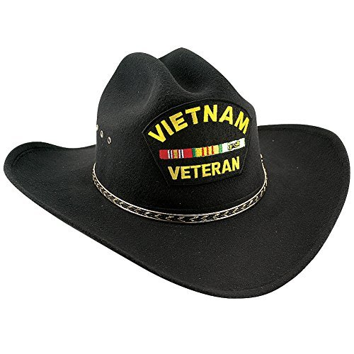 (Proud Vietnam War Veteran Black Felt Embroidered Western Cowboy Hat)