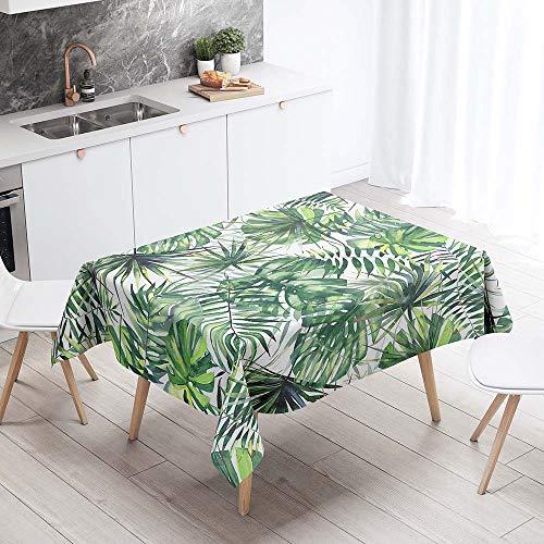 Mantel para Mesa Impermeable Antimanchas, Chickwin Cocina Comedor Rectangular Resistente al Desgaste Lavable Mantel de Poliester Hojas Tropicales Patron 3D (Hojas de palma,140x240cm)