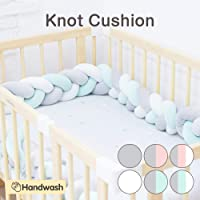 Wonder Space Soft Knot Plush Pillow - Baby Crib Bumper, Fashion Nursery Cradle Decor For Baby Toddler and Childern (Green/Grey/White, 3 Meters)
